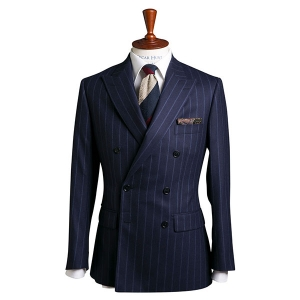 Navy Wool Suit With Vibrant Blue Pinstripe
